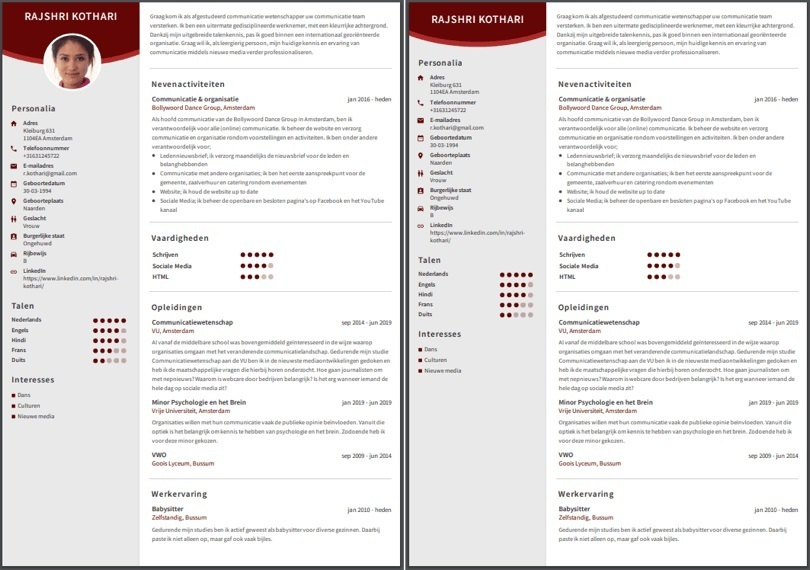 CV met en zonder foto BE